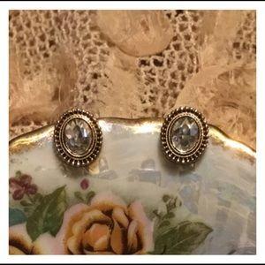 Cute Clear Gem Gold Oval Studded Earrings